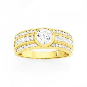 9ct-Gold-CZ-Wide-Bezel-Ring on sale