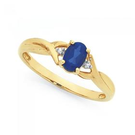 9ct-Gold-Created-Sapphire-Diamond-Ring on sale