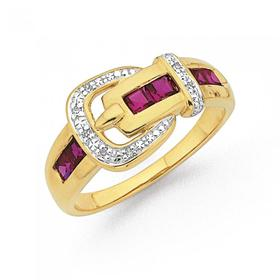 9ct-Gold-Created-Ruby-Diamond-Buckle-Ring on sale
