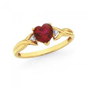 9ct-Gold-Created-Ruby-Diamond-Heart-Ring on sale