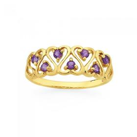 9ct-Gold-Amethyst-Filigree-Hearts-Dress-Ring on sale