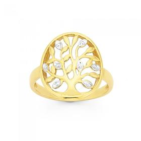 9ct-Gold-Two-Tone-Tree-Of-Life-Ring on sale