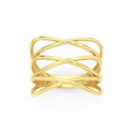 9ct-Gold-Triple-Cross-Over-Ring on sale