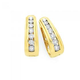 9ct-Gold-Diamond-Miracle-Set-Huggie-Earrings on sale