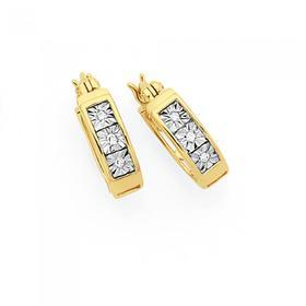 9ct-Gold-Diamond-Miracle-Set-Hoop-Earrings on sale