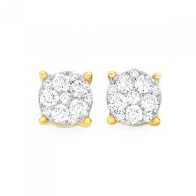 9ct-Gold-Diamond-Round-Brilliant-Cut-Cluster-Stud-Earrings on sale
