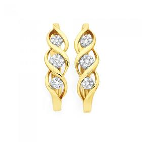 9ct-Gold-Diamond-Round-Brilliant-Cut-Cluster-Multi-Swirl-Huggie-Earrings on sale