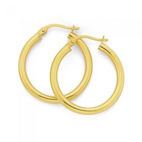 9ct-Gold-20mm-Polished-Hoop-Earrings on sale