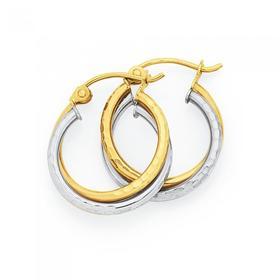 9ct-Gold-Two-Tone-Hoop-Earrings on sale