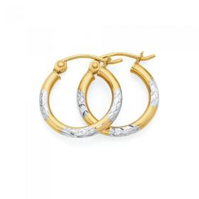 9ct-Gold-Two-Tone-10mm-Hoop-Earrings on sale