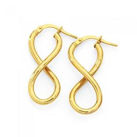 9ct-Gold-Infinity-Twist-Hoop-Earrings on sale