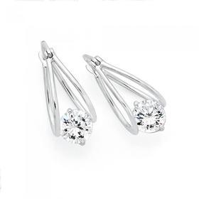 Sterling-Silver-Double-Loop-Suspended-CZ-Earrings on sale