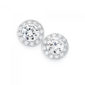 Sterling-Silver-CZ-Cluster-Stud-Earrings on sale