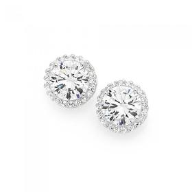 Sterling-Silver-Cubic-Zirconia-Round-Cluster-Stud-Earrings on sale