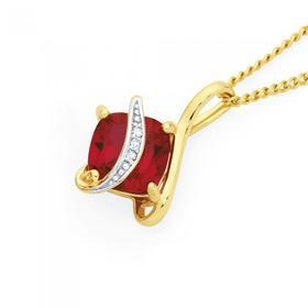 9ct-Gold-Created-Ruby-Diamond-Cushion-Pendant on sale