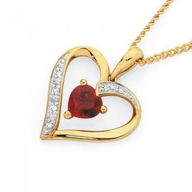 9ct-Gold-Created-Ruby-Diamond-Heart-Pendant on sale