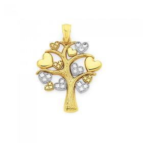 9ct-Gold-Two-Tone-Multi-Hearts-Tree-of-Life-Pendant on sale