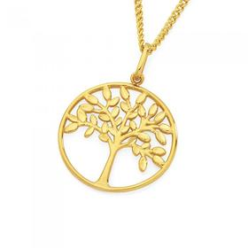 9ct-Gold-Diamond-Cut-Tree-Of-Life-Pendant on sale