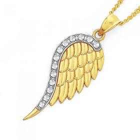9ct-Two-Tone-Angel-Wing-Pendant on sale