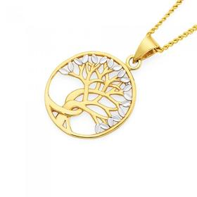 9ct-Gold-Two-Tone-Oval-Tree-of-Life-Pendant on sale