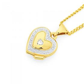 9ct-Gold-Two-Tone-CZ-Heart-Locket on sale