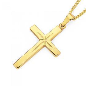 9ct-Gold-24mm-Cross-Pendant on sale
