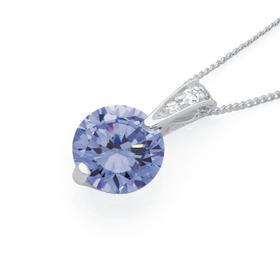 Silver-Lavender-CZ-Solitaire-Pendant on sale