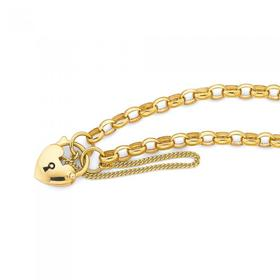 9ct-Gold-19cm-Oval-Belcher-Bracelet-with-Puff-Heart-Padlock on sale