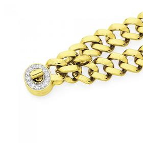 9ct-Gold-18.5cm-Solid-Square-Curb-Turn-Lock-Bracelet on sale
