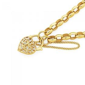 9ct-Gold-19cm-Oval-Belcher-Tree-of-Life-Padlock-Bracelet on sale