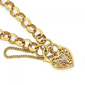 9ct-Gold-19cm-Solid-Belcher-Diamond-Heart-Padlock-Bracelet on sale