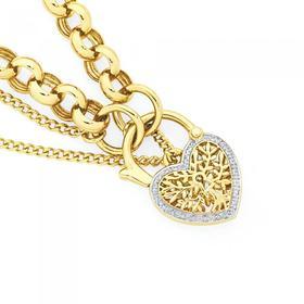 9ct-Gold-Diamond-19cm-Solid-Belcher-Tree-Padlock-Bracelet on sale