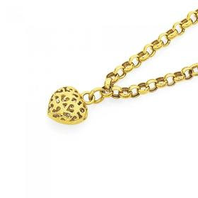 9ct-Gold-19cm-Belcher-Bracelet-with-Heart on sale