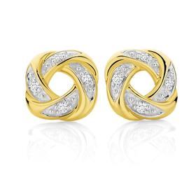 9ct-Gold-Diamond-Knot-Studs on sale