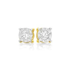 9ct-Gold-Diamond-Round-Brilliant-Cut-Miracle-Plate-Stud-Earrings on sale