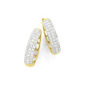 9ct-Gold-Diamond-Huggies on sale