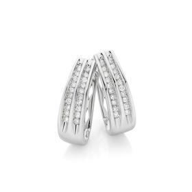 9ct-White-Gold-Diamond-Double-Row-Huggies on sale