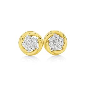 9ct-Gold-Diamond-Cluster-Earrings on sale
