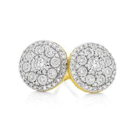 9ct-Gold-Diamond-Round-Brilliant-Cut-Miracle-Set-Cluster-Stud-Earrings on sale