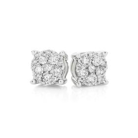 9ct-White-Gold-Diamond-Cluster-Stud-Earrings on sale