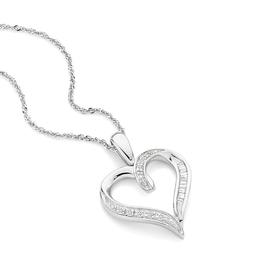 9ct-White-Gold-Diamond-Heart-Pendant on sale