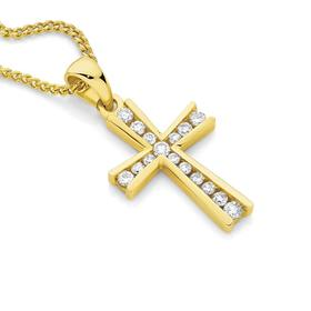 9ct-Gold-Diamond-Cross-Pendant on sale