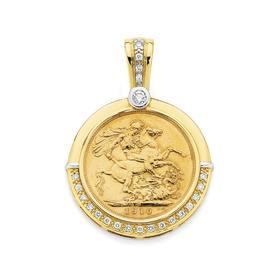 9ct-Gold-Two-Tone-Diamond-Set-22ct-Full-Sovereign-Enhancer on sale