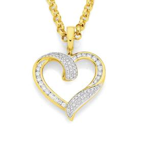 9ct-Gold-Diamond-Round-Brilliant-Cut-Open-Heart-Pendant on sale