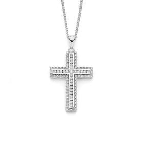 9ct-White-Gold-Diamond-Cross-Pendant on sale