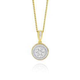 9ct-Gold-Diamond-Framed-Cluster-Pendant on sale