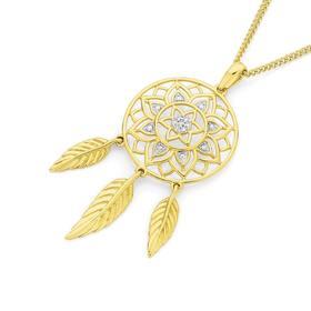 9ct-Gold-Diamond-Dream-Catcher-Pendant on sale