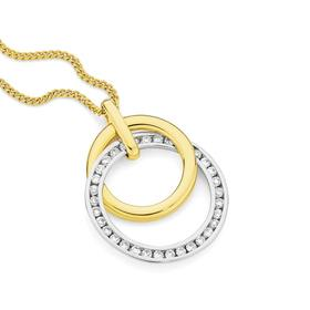 9ct-Two-Tone-Diamond-Pendant on sale