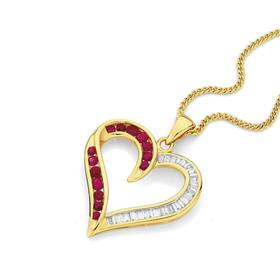 9ct-Gold-Ruby-Diamond-Heart-Pendant on sale