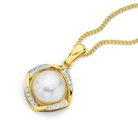 9ct-Gold-Mabe-Pearl-Diamond-Enhancer-Pendant on sale